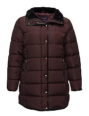 Quilted long coat - DARK RED