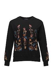 Floral embroidered sweatshirt - BLACK