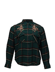 Embroidered checked shirt - GREEN