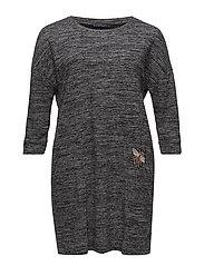 Patched flecked dress - MEDIUM GREY