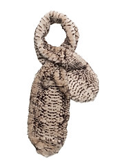 Snake design faux-fur scarf - LIGHT BEIGE