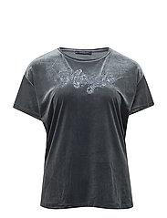 Velvet message T-shirt - MEDIUM BLUE