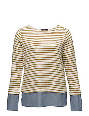 Striped combi sweatshirt - YELLOW