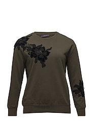 Embroidered cotton sweatshirt - BEIGE - KHAKI