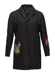 Floral embroidery coat - DARK GREY