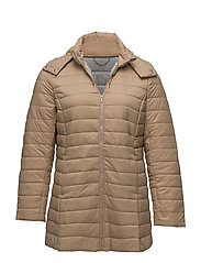 Quilted long coat - LIGHT BEIGE