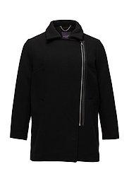 Asymmetric zip coat - BLACK