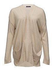 Side pockets cardigan - LT PASTEL BROWN