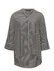 Flowy striped blouse - BLACK