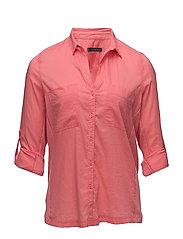 Ribbed panel shirt - MEDIUM PINK