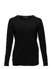 Decorative buttons cardigan - BLACK