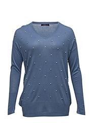 Decorative appliqu sweater - LT-PASTEL BLUE