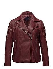 Studded biker jacket - DARK RED