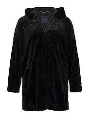 Hooded faux-fur coat - BLACK