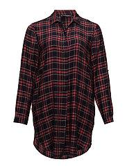 Check printed blouse - DARK RED