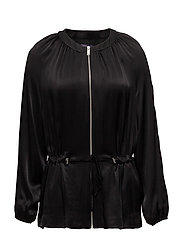 Satin bomber jacket - BLACK