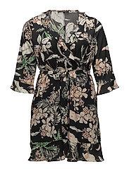 Print wrap dress - NAVY