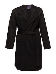 Suede effect trench - BLACK