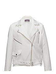 Neoprene-effect biker jacket - WHITE