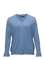 V-neck cashmere sweater - MEDIUM BLUE