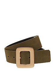 Buckled suede belt - BEIGE - KHAKI