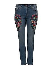 Alexia embroidery super slim-fit jeans - OPEN BLUE
