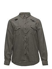 Embroidered detail shirt - BEIGE - KHAKI