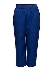 Straight linen-blend trousers - TURQUOISE - AQUA