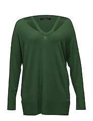 Neck cut-out sweater - GREEN