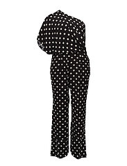 Polka dots asymmetric jumpsuit - BLACK