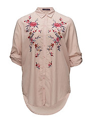 Embroidered flowers shirt - PINK
