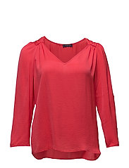 Ruched satin blouse - RED