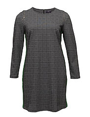 Contrasting trims checked dress - GREY