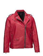 Faux leather jacket - MEDIUM RED