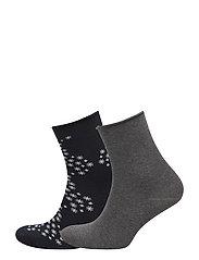 Ladies anklesock, Snowflake Socks, 2-pack - MARINE