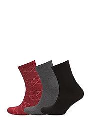 Ladies anklesock, Argyle Socks, 3-pack - CRANBERRY