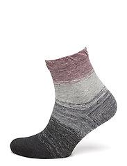 Ladies anklesock, Ombré Stripe Sock - HEATHER RED