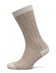 Ladies anklesock, Woolly Rib Sock - MEL.BEIGE
