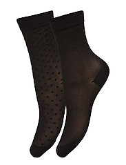 Ladies den anklesock, Polka Dot Socks 30, 2-pack - black