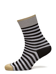 Ladies anklesock, Cotton Resort Stripe Socks - black
