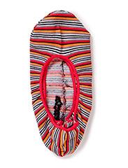 Colore Sunny Stripe Footsocks - azalea red