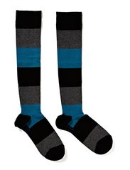 Ladies knee high, Block Stripes Support - teal