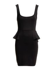 Warehouse Ponte Peplum Dress - Black