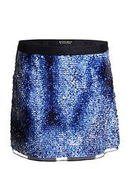 Warehouse Warehouse Blue Printed Sequin Skirt