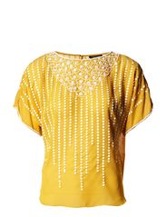 Warehouse Scallop Beaded T-Shirt - Yellow