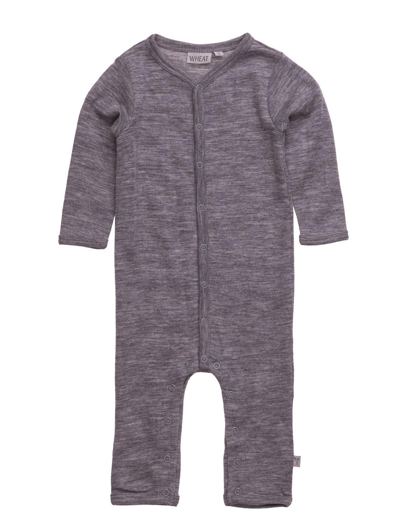 Plain Wool Jumpsuit Wheat Langærmede bodies til Børn i Navy blå