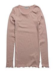 Rib T-Shirt Lace LS - FAWN