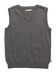 V-Neck Knit Vest - DARK MELANGE GREY
