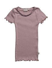 Rib T-Shirt Lace SS - DUSTY LILAC