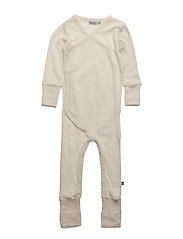 Wool Wrap Around Jumpsuit Frill - EGGSHELL